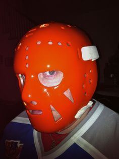Doug Favell Game Used Mask - First Ever Painted Mask Philadelphia Flyers Goalie Mask, Hockey Goalie, Philadelphia Flyers, Halloween Masks, Nhl, Masked Man, Projects, Helmet, Game