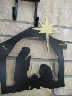 Silhouette Nativity Scene Wooden Door Hanging by DeckersDesigns, $22.00