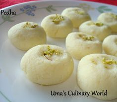 Umas Culinary World: Ricotta Cheese Pedha / Peda Healthy Indian Recipes, Indian Dessert Recipes, Desert Recipes, Indian Sweets, Indian Snacks, Kalakand Recipe, Peda Recipe, Milk Recipes, Sweet Recipes