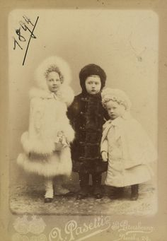 "Photo by A Pasetti in 1894 of Princess Tatiana  Konstantinovna  Romanova (1890- 1979 age 89) Russia, her brothers Prince Konstantine Konstantinovich Romanov ""Kostya"" (1891-1918 age 27 murdered by Bolsheviks) Russia & Prince Oleg Konstantinovich Romanov (1892 -1914 age 21 killed in WW I) Russia. 3 of children of Grand Duke Konstantin Konstantinovich Romanov ""KR"" (1858-1915 age 56) Russia & wife Princess Elizaveta Mavrikievna (Mavra) (Elisabeth Auguste) (1865–1927 age 62) Saxe-Altenburg…"
