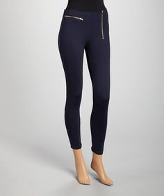 Another great find on #zulily! Navy Zipper Jeggings - Women #zulilyfinds