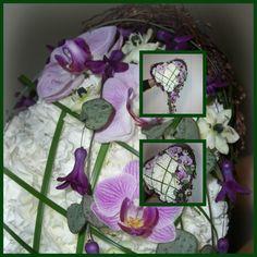 Hjerte bukett formet av kvistunderlag med orkchidè, svibel, ornitughalum, hjerteranke og steelgrass. (Øvingsbukett)