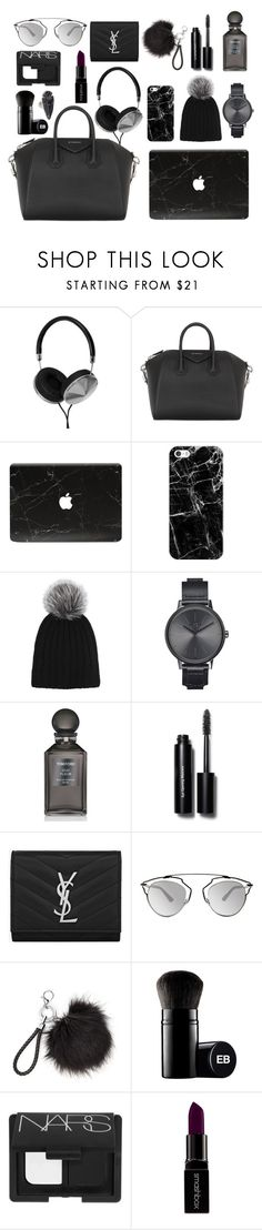 """""""What's in my bag: minimalist&monochrome version"""" by marbiotic on Polyvore featuring moda, Frends, Givenchy, Casetify, Harrods, Nixon, Tom Ford, Bobbi Brown Cosmetics, Yves Saint Laurent e Christian Dior"""