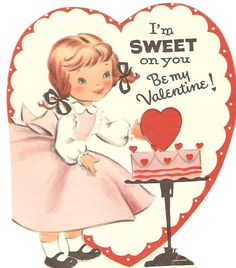 Vintage Valentine card- she's simply sweet on you