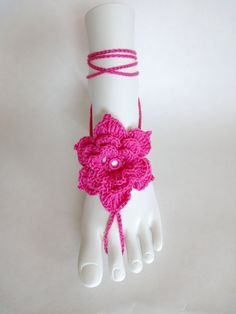 Crochet Barefoot sandals. Foot Jewelry. Hot Pink by VividBear, $15.00