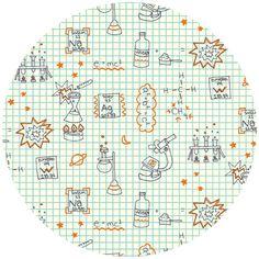 Cute for chair cushions! Rebekah Ginda for Birch Organic Fabrics, Robotic, Graph Paper