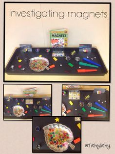 Investigating magnets in the sensory tray. Science Area, Primary Science, Science Activities For Kids, Stem Science, Kindergarten Science, Preschool Classroom, Teaching Science, Stem Activities, Science Projects