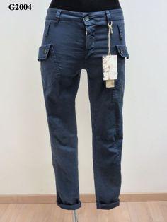Pantalone tasca a pattina con 2 bottoni tinto capo