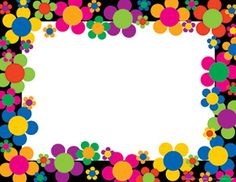 Neon Flower Power Border for invitations or such