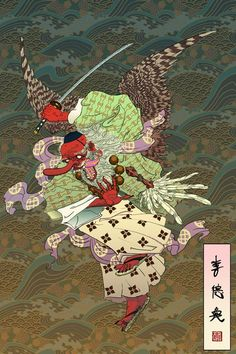 """shaped-by-karate: """" Tengu (天狗, """"heavenly dog"""") are a type of legendary creature found in Japanese folk religion and are also considered a type of Shinto god (kami) or yōkai (supernatural beings). Folklore Japonais, Art Japonais, Japanese Tattoo Art, Japanese Painting, Tengu Tattoo, Japanese Monster, Japanese Mythology, Art Asiatique, Japan Illustration"""