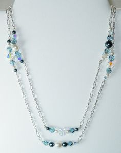 Indian Sapphire Swarovski Crystal Beaded Necklace by BestBuyDesigns