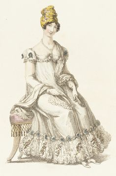 August 1, 1818 Fashion Plate (Evening Dress), Rudolph Ackermann, LACMA Collections, Accession#M.83.161.200