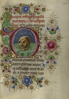 Taddeo Crivelli, illuminator (Italian, died about 1479, active about 1451 - 1479) Initial D: A Skull in a Rocky Field, about 1469, Tempera colors, gold paint, gold leaf, and ink on parchment