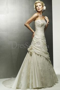 Pale Ivory Weeding Gown with Delicate Pleats Detail and Feminine Floral Design, Wedding Dresses with Color - dressale.com
