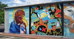 pabst blue ribbon? dinosaurs? as a mural? sweet.