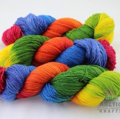 Arctic Rainbow is back in stock on sock and worsted weight yarn!