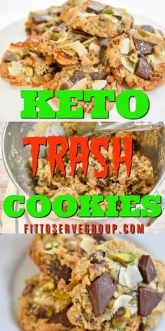 These Keto Trash Cookies are the perfect combination of sweet and salty. Using leftover keto-friendly items allows you to use what's in your pantry for a delicious compost, garbage can cookies minus all the carbs. #ketotrashcookies #ketocookies #lowcarbcookies Keto Friendly Desserts, Low Carb Desserts, Low Carb Recipes, Diet Recipes, Atkins Desserts, Diet Tips, Lunch Recipes, Recipies, Sugar Free Cookies