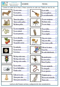 Spanish Classroom Activities, Preschool Spanish, Spanish Teaching Resources, Spanish Language Learning, Preschool Worksheets, Speech And Language, Spanish Basics, Spanish Lessons, Spanish Vocabulary