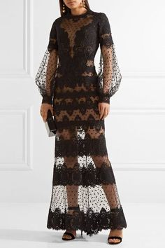 Elie Saab - Cotton-blend Guipure Lace And Swiss-dot Tulle Gown - Black