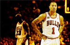 Fan-made wallpaper #DerrickRose #MichaelJordan