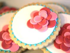 Flower Cookies by Inspired Sugar and Party Styling by Petite Party Studio