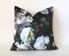 """Offered is one """"Pellestrina"""" pillow cover by Osborne and Little, Winter colorway. The chiaroscuro colourings of this floral bouquet are printed on velvet. A dual purpose fabric with a high Martindale abrasion Named after the island at t. Pink Pillows, Floral Pillows, Velvet Pillows, Floral Fabric, 20x20 Pillow Covers, Pillow Inserts, Osborne And Little, Feather Pillows, Skull Decor"""