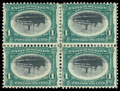 US 1901 1c Pan American Center Inverted Block of Four