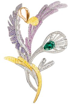 Boucheron Bouquet d'Ailes brooch set with emeralds, colored sapphires, fine stones and diamonds.