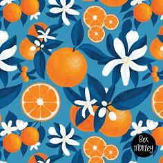 Orange Grove repeat pattern design by Bex Morley Fruit Illustration, Pattern Illustration, Surface Pattern Design, Pattern Art, Posca Art, Fruit Pattern, Orange Pattern, Fruit Art, Brainstorm