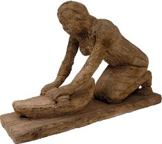 Wooden statue of a woman grinding cereals.  From the mastaba of the official Ti in Saqqara. Old Kingdom. Fifth Dynasty, Reign of Niuserre, ca. 2416-2392 BC. http://www.namuseum.gr