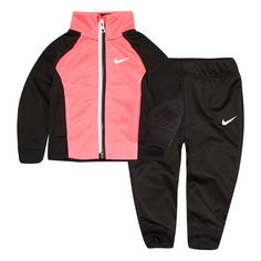 27b25edfb8ddbd Baby Girl Nike Colorblock Raglan Jacket   Jogger Pants Set