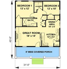 Cozy 2 Bed Cottage House Plan - 2596DH floor plan - Main Level
