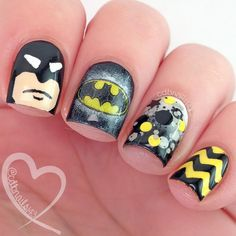 """""""My #batmanmani for #thenailchallengecollaborative.▫Polishes and products used are live on blog as well as a video tutorial for each nail! Please visit www.cdbnails.com or click the link in the bio! @trellypolish @kbshimmer @officialpureice @chinaglazeofficial @winstonia_store @greengoddesscreations @twinkled_t"""" Photo taken by @cdbnails143 on Instagram, pinned via the InstaPin iOS App! http://www.instapinapp.com (06/23/2015)"""