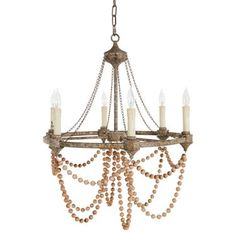 Auvergne French Country Rustic Iron Wooden Beads Chandelier W - W French Country Furniture, French Country Cottage, French Country Decorating, Country Cottages, French Farmhouse, Country Style, French Country Lighting, Rustic French, Round Chandelier