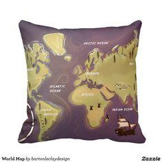 World Map Throw Pillows