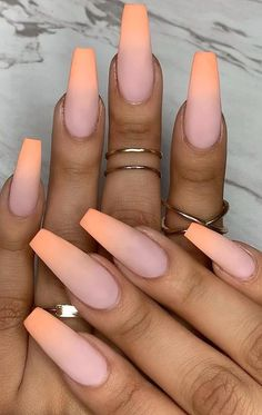 The popular trend of peach acrylic nail art designs are rising, becoming one of the most fashionable artificial nails. Peach acrylic nails come in handy when you& tired of all the bare and bold hues that are popular today. In addition, when you Peach Acrylic Nails, Summer Acrylic Nails, Cute Acrylic Nails, Gel Nails, Pink Ombre Nails, Matte Nail Polish, Coffin Ombre Nails, Acrylic Nails Almond Matte, Peach Nail Art
