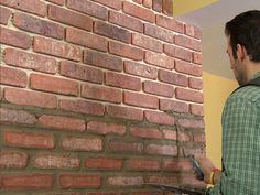 Wow.. DIY Brick Veneer Wall. Did not know this was possible!