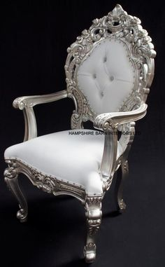 royal palace throne chair silver wedding home white faux leather crystals