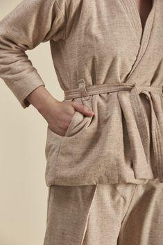 Marmoreal Jacket Box Pleats, Kimono Fashion, High Collar, Butler, Organic Cotton, Winter, Jackets, Style, Turtleneck