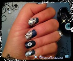 Greek evil eye nails