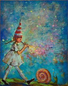"""Penny Whistle by Angie Rees Acrylic ~ 11"""" x 14"""""""