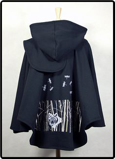 Cotton Fleece Black Shawl with Ivory Dragonflies and Deep Woods with Wolf on Back