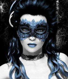blue make up and mask