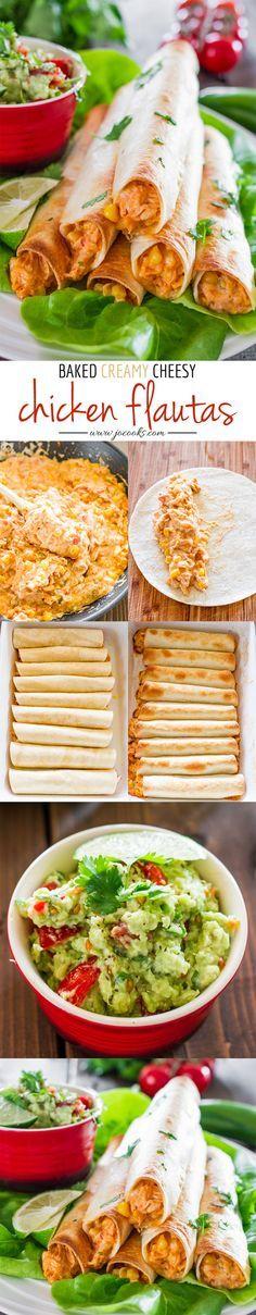 Baked Creamy Cheesy Chicken Flautas with Guacamole