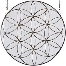 round stained glass panel   Beveled Flower of Life Clear Tiffany Style Art Glass Window