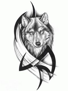 Tribal Wolf tattoos Design