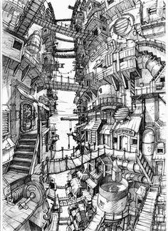 Focus On - Catfish Deluxe Cityscape Drawing, City Drawing, Building Drawing, Building Sketch, Art Sketches, Art Drawings, Arte Cyberpunk, Fantasy Concept Art, Fantasy City