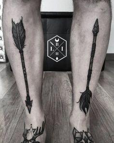 Blackwork Arrow Tattoos by Manuel