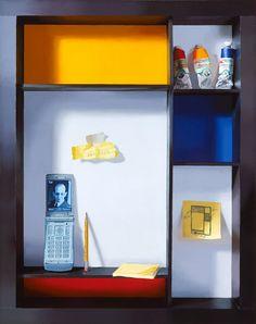 Mondrian's portrait - trompe l'oeil - Debra Teare (American artist, one of the most successful trompe l'oeil painters today, born 1955).