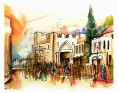 Jerusalem - Jaffa Gate  Watercolor by Menahem Lavee
